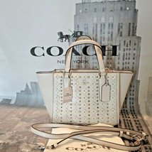 NWT Coach Mini Crosby Carryall Crossbody Floral Rivets Calf Leather Chal... - $139.30