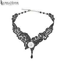 Black Butterfly Lace Necklace 12mm 18mm Snap button Choker Necklace 003 ... - $8.33