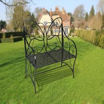 Metal antique garden bench Outdoor Double Seat with Decorative Butterfly  - $163.98