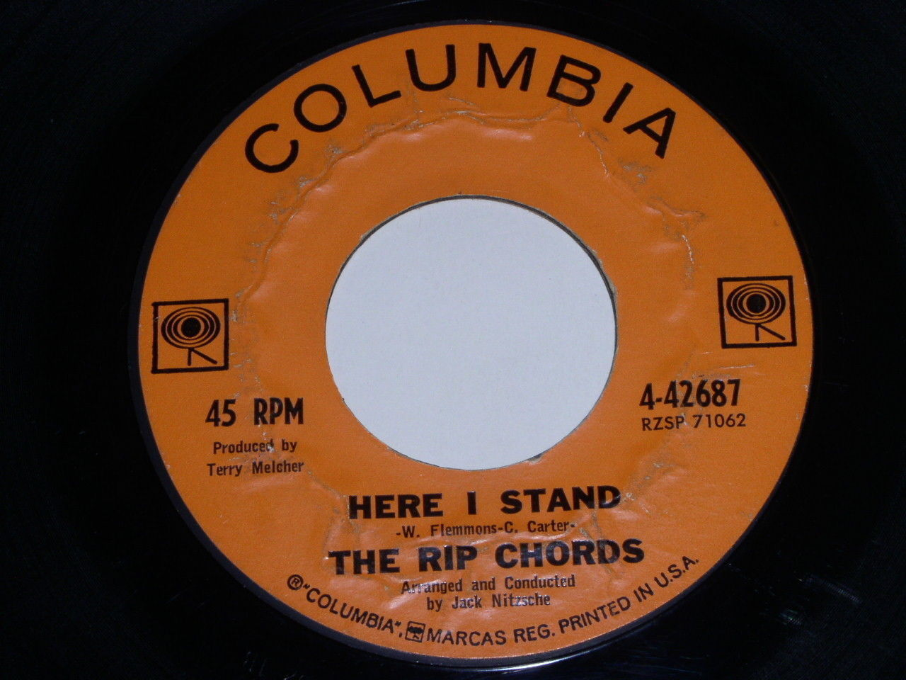 The Rip Chords Here I Stand Karen 45 Rpm Record Vintage Columbia Label