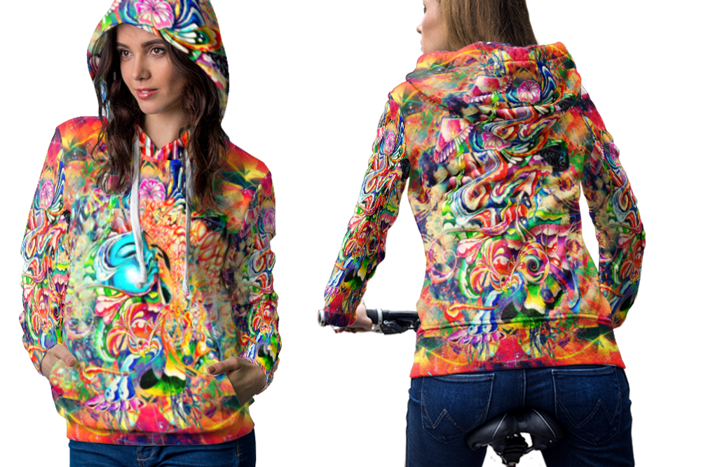 Psychedelic female face trippy tongue dmt hoodie women