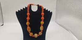 Vintage Orange Hand Painted Big & Small Wooden Beads With Floral Designs... - $25.14
