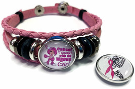 Breast Cancer Wrong Girl Butterfly Pink Leather Bracelet W/2 Snap Jewelry Charms - $22.95