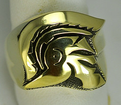 Trojan Soldier Warrior SPARTAN 300 gladiator Head Gold pltd ring Jewelry... - $64.99