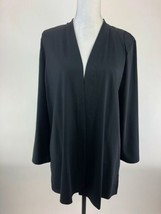 Talbots Cardigan Sweater Womens Large Black Open Drape Front NWOT B83-13 - $19.28