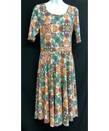LuLaRoe (Sz Large) Amelia Fall Colors Floral Geometric Orange/Teal Women... - $32.30