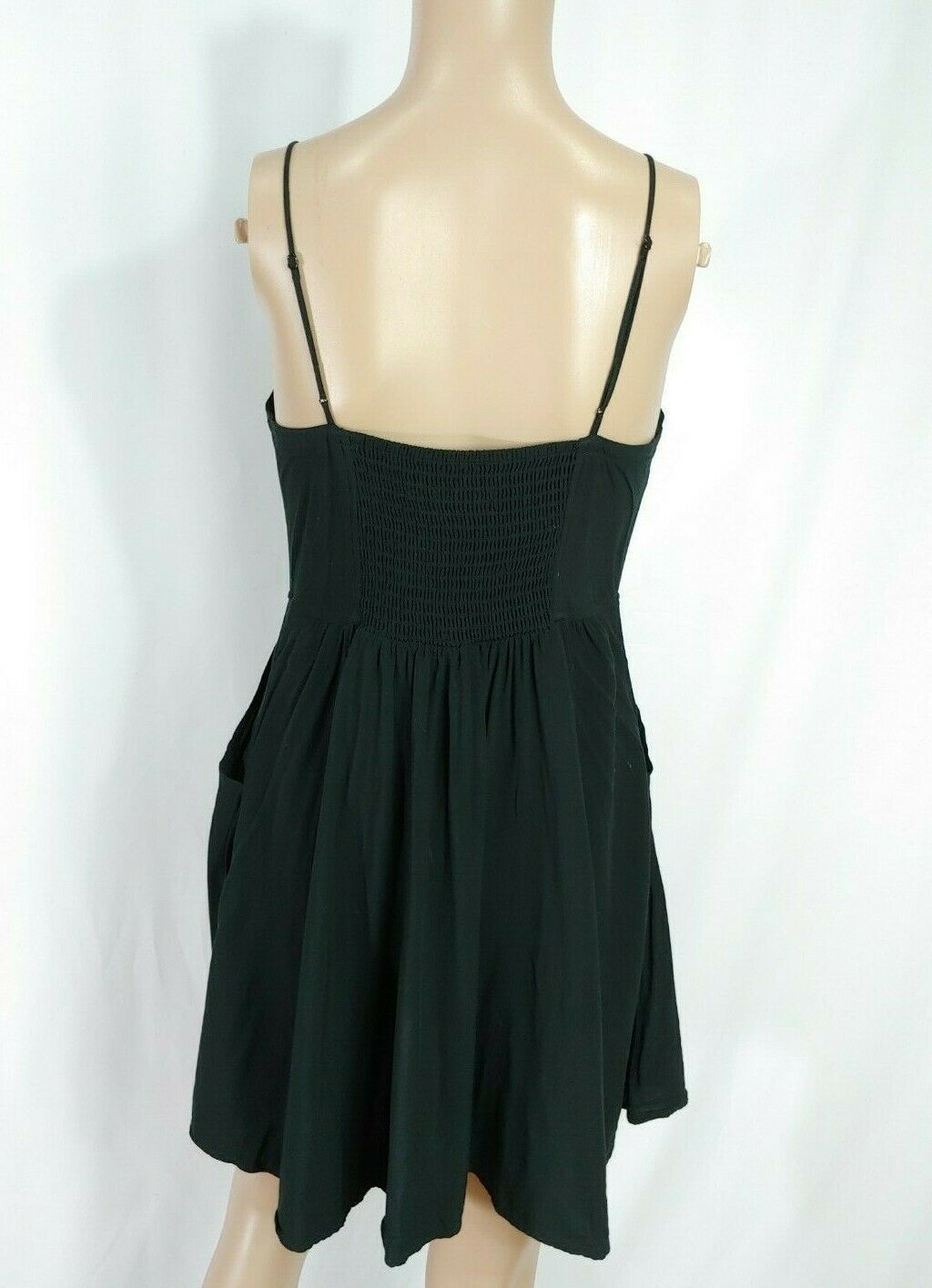 Express Black V-neck Henley Fit & Flare Full Skirt Pocket Skater Slip Sundress S