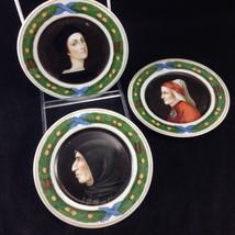 "3 Hand Painted Ginori Portrait 6"" Display Plates Man Woman Vintage Porce... - $78.57"
