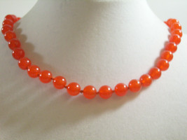 Trifari Coral Color Beads Choker Necklace Hand Knotted Strand Orange Vin... - $24.70