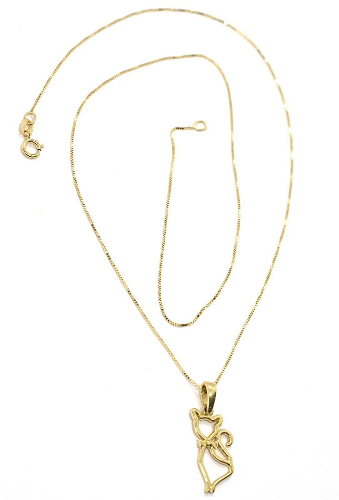 """18K YELLOW GOLD MINI NECKLACE, CAT PENDANT 0.7"""" AND VENETIAN CHAIN 17.7"""""""