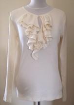 "Ralph Lauren ""lauren"" Womens Long Sleeve Ruffled Neck Top Ivory Cream Medium - $65.03"