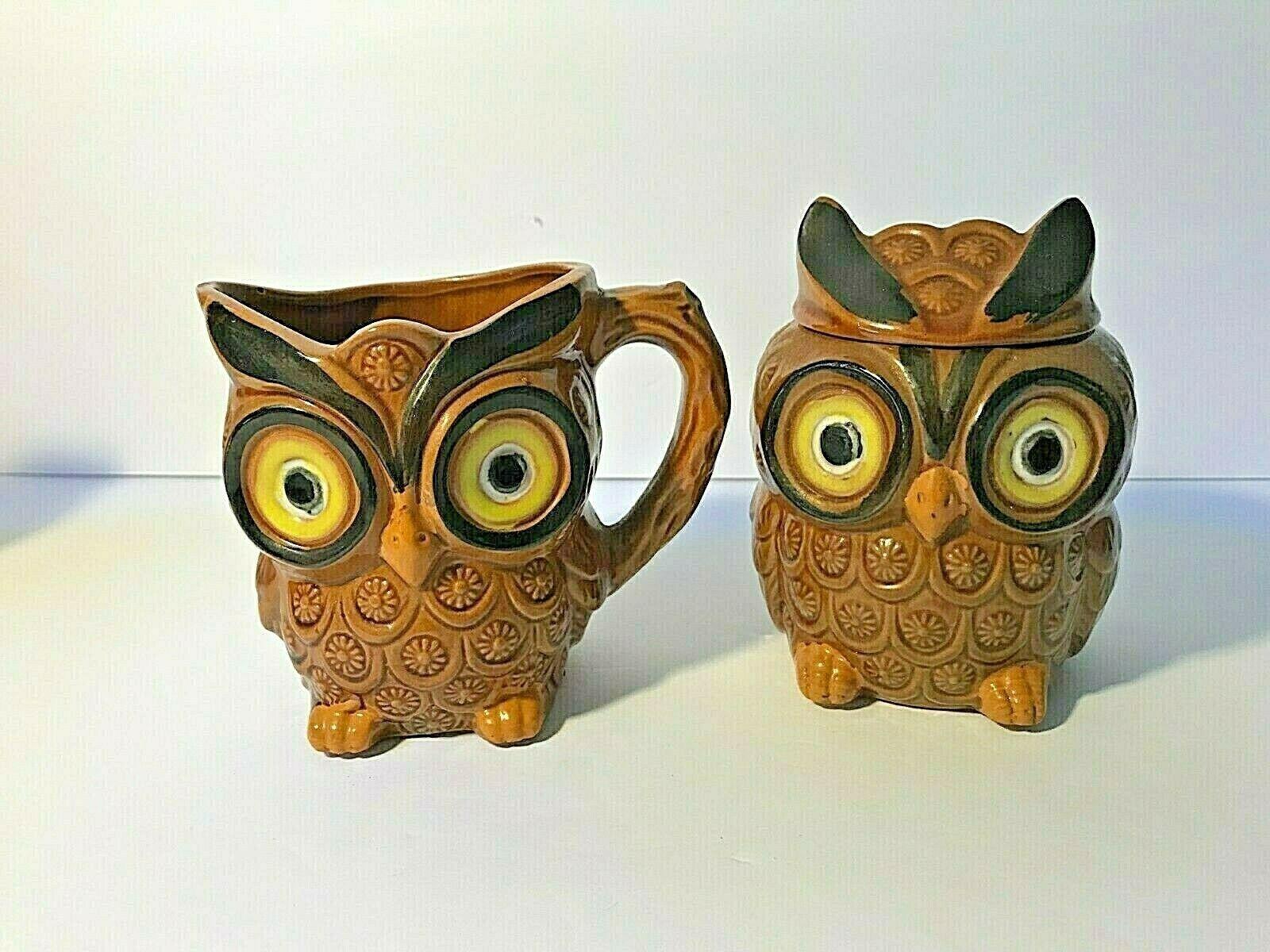 Vintage Set of Four Owl Table Set Salt and Pepper Creamer and Sugar Bowl