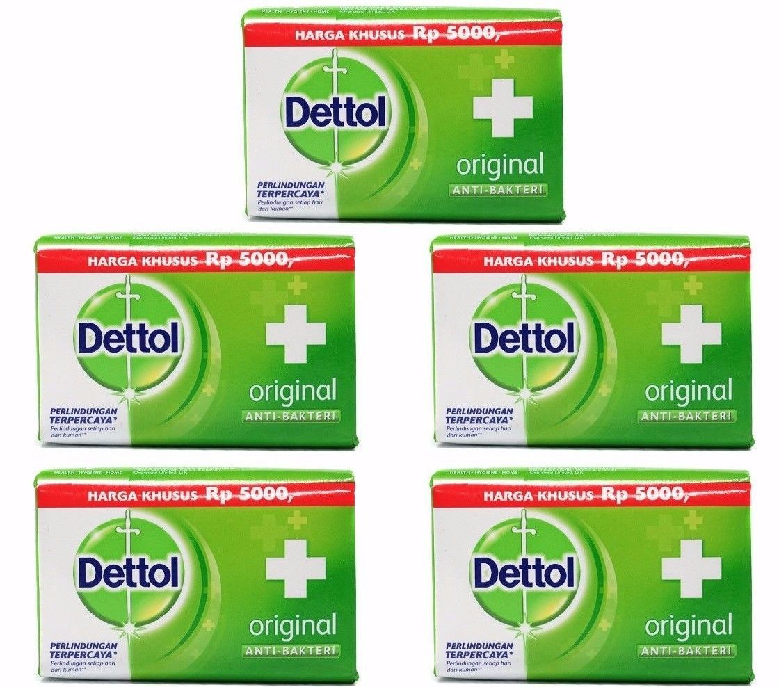 5 X Dettol ORIGINAL Anti-Bacterial Hygiene Hand and Body Bar Soap 105g / Each