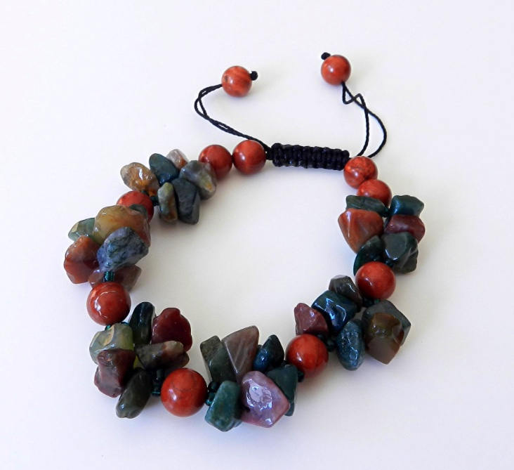 Red Jasper Bracelet with Green, Brown and Pink Agate