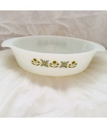 Hocking Fire King Milk Glass Casserole Meadow Green 1 Quart Oval Dish Vi... - $19.42