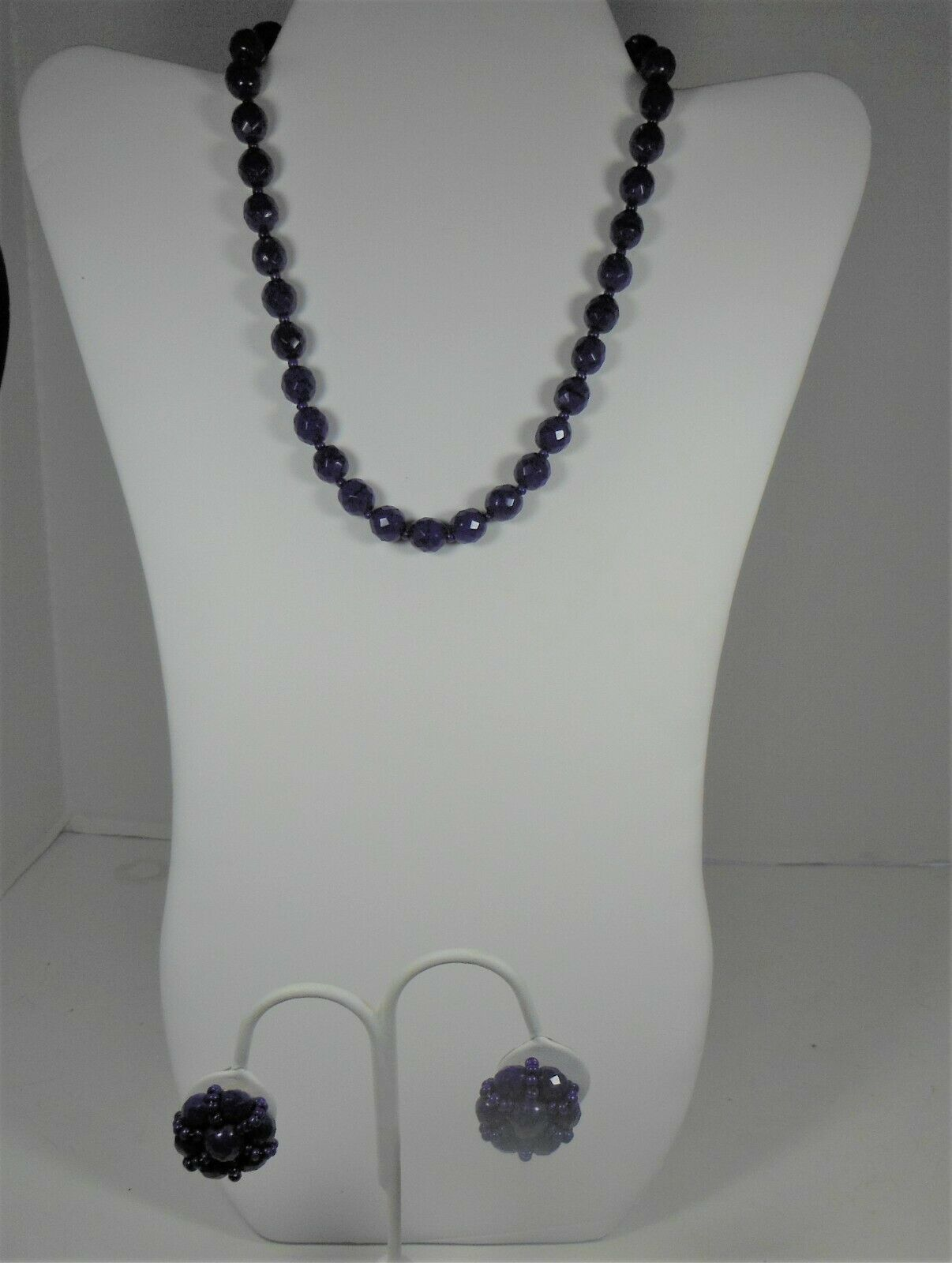 Hobe Faceted Blue Glass Bead Necklae & Clip On Earrings - $44.54