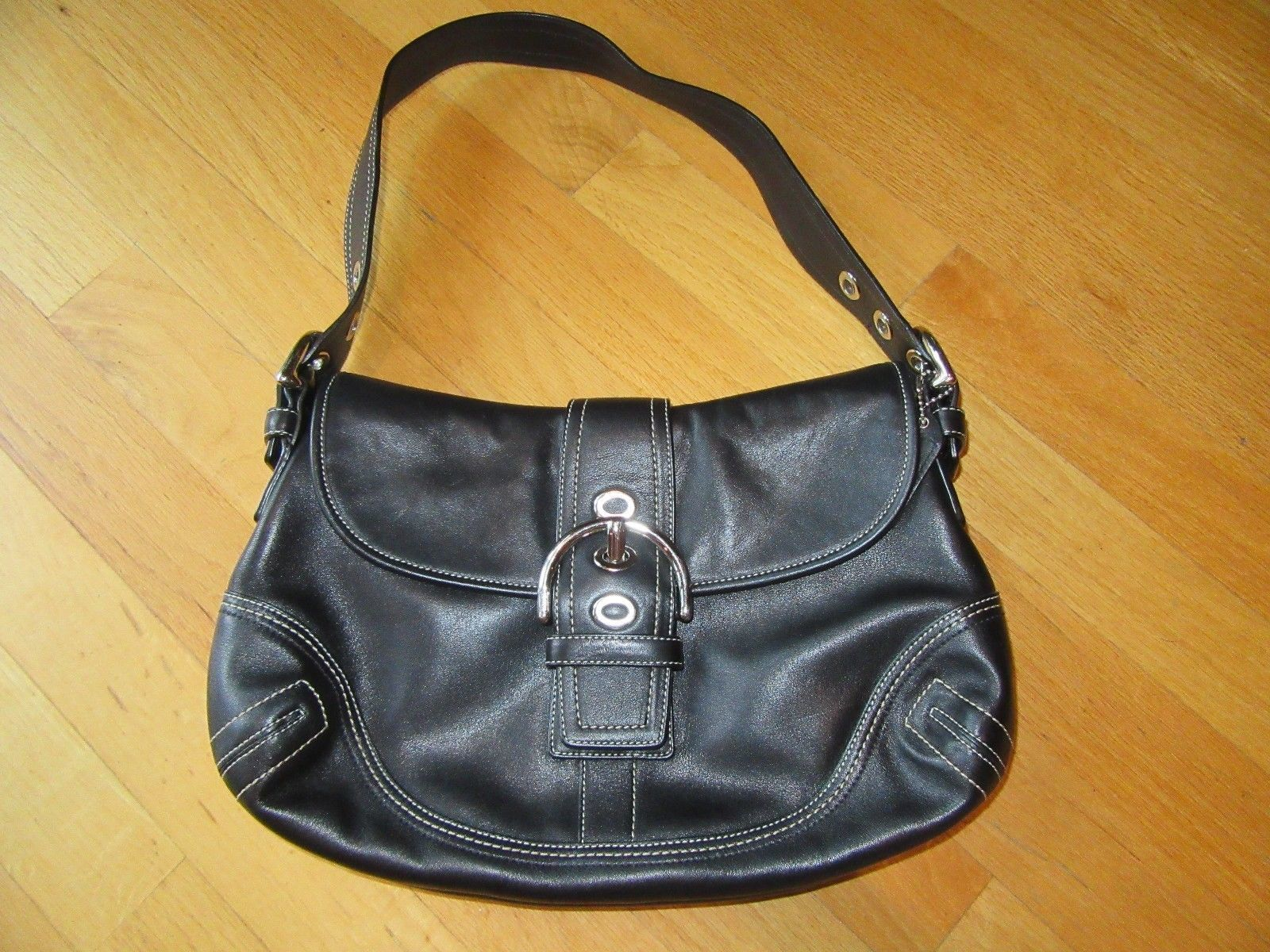 ac6d315acde4 6S COACH AUTHENTIC BLACK LEATHER BUCKLE SOHO SHOULDER HANDBAG PURSE  10192 NICE