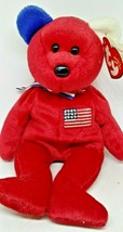 Ty Beanie Baby - RED WHITE & BLUE AMERICA BEAR - $9.49