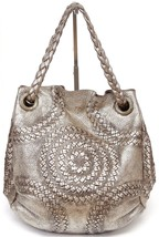 BOTTEGA VENETA Tote Shoulder Bag INTRECCIATO Metallic Gold Distressed Hobo - $660.25
