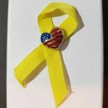 Avon Yellow Ribbon Pin Enameled Heart Flag Tac Pin Patriotic 2003 New In... - $9.47