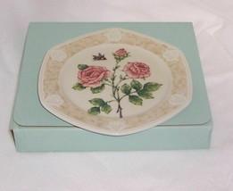PartyLite Rose Candle Plate Botanical Collection Porcelain Dishwasher Safe  - $15.83