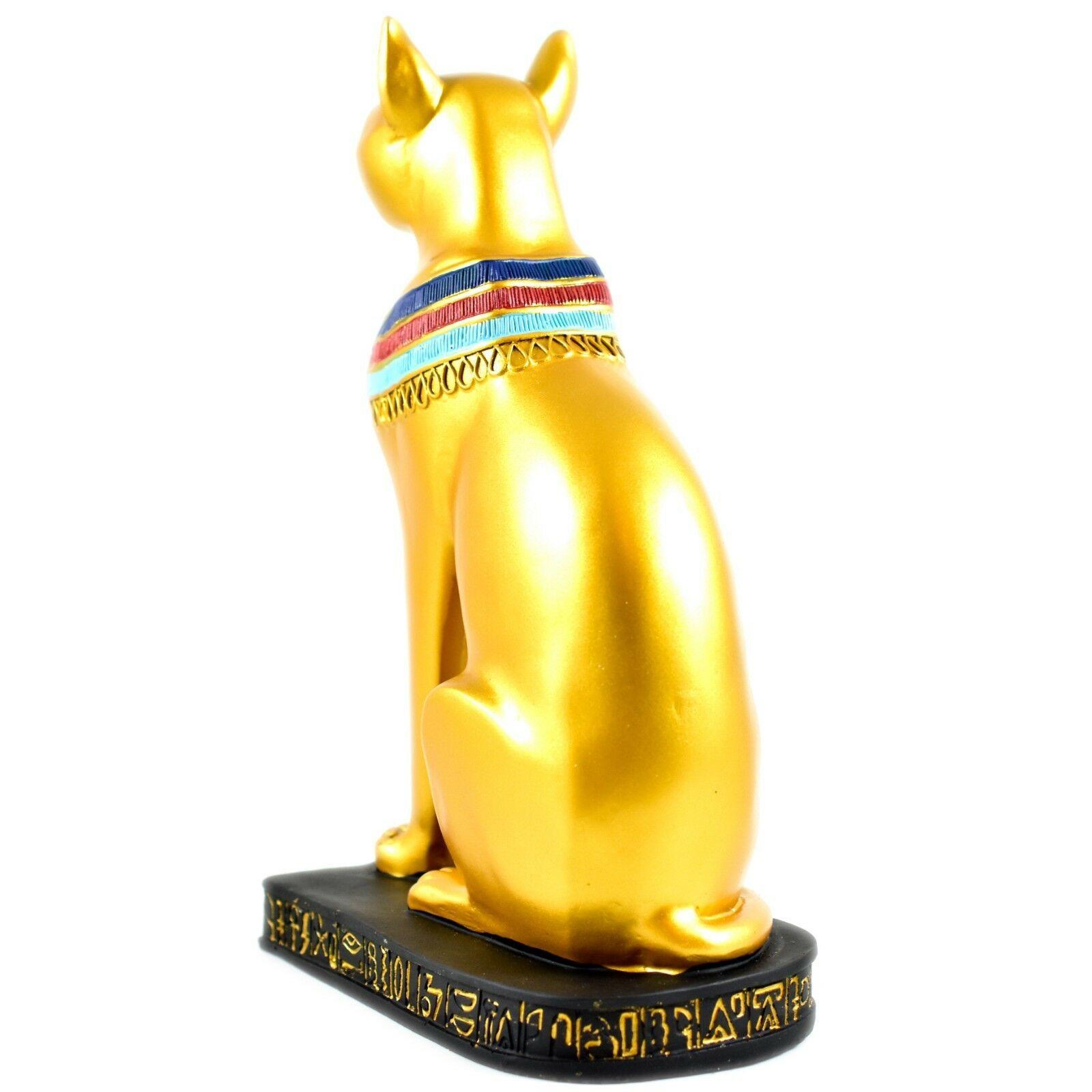 "Gold Tone Painted Egyptian Cat God Bastet 8"" Resin Figurine"