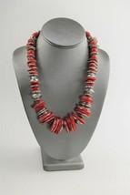 ESTATE VINTAGE Jewelry TRIBAL BOHO CHERRY RED PLASTIC SILVER METAL BEAD ... - $25.00