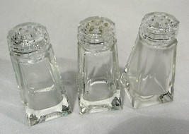 Vintage Czechoslovakia Crystal Glass Salt Shakers w/ Glass Tops (3) - $9.89