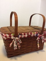 """Vintage Woven Wooden Rustic Picnic Basket Checker Print Lining L 22"""" W 1... - $95.79"""