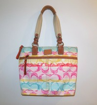 Coach Hampton Water Color Scribble Tote Bag #11756 Multi Color Canvas Le... - $29.00