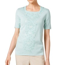 Alfred Dunner Women's Ladies Who Lunch Sweater Aqua XL 4385-3 - $32.39