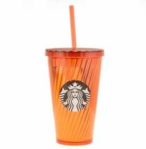 Starbucks Halloween Shiny Spiral Orange 16oz Cold Cup Grande Tumbler Metallic - $22.18