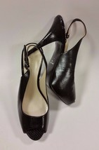 Nine West Shoes Heels Slingbacks Textured Heel Peep Toe Black Womens Si... - $58.91