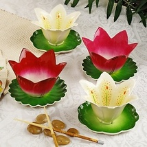 I. Godinger Garden of Eden Floral Bowl and Saucer Set 4  - €54,16 EUR