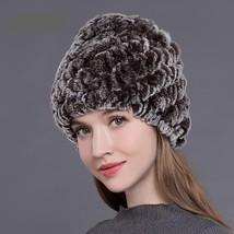 Women Winter Hat Natural Rex Rabbit Fur Cap Thick Warm Ladies Beanie Spring Fall - $19.98