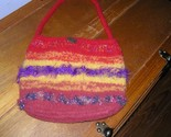 Handmade Fire Red Yellow & Purple Boiled Wool & Frilly Yarn Small Purse Handbag