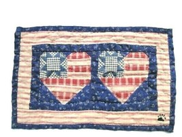 "Boyds Bears ""Patriotic Double Heart patchwork quilt"" -Collectible Access... - $24.99"