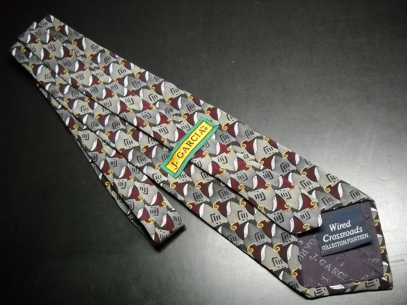 J Garcia Neck Tie Collection 14 Wired Crossroads Dark Maroon and Greyish Browns