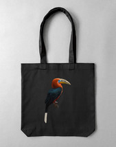 Tote bag in black with print Rufous HornBill | unisex tote bag - $42.00