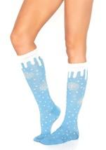 Blue White Silver Snowflake Knee Socks Frozen Snow Queen Winter Christmas Elf - $8.95