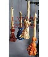 4 Samhain multi-colored-bristled Broom/ Besom ornaments - $8.99