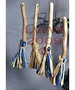 Samhain Halloween 4 Blue & tan Broom/ Besom ornaments  - $8.99