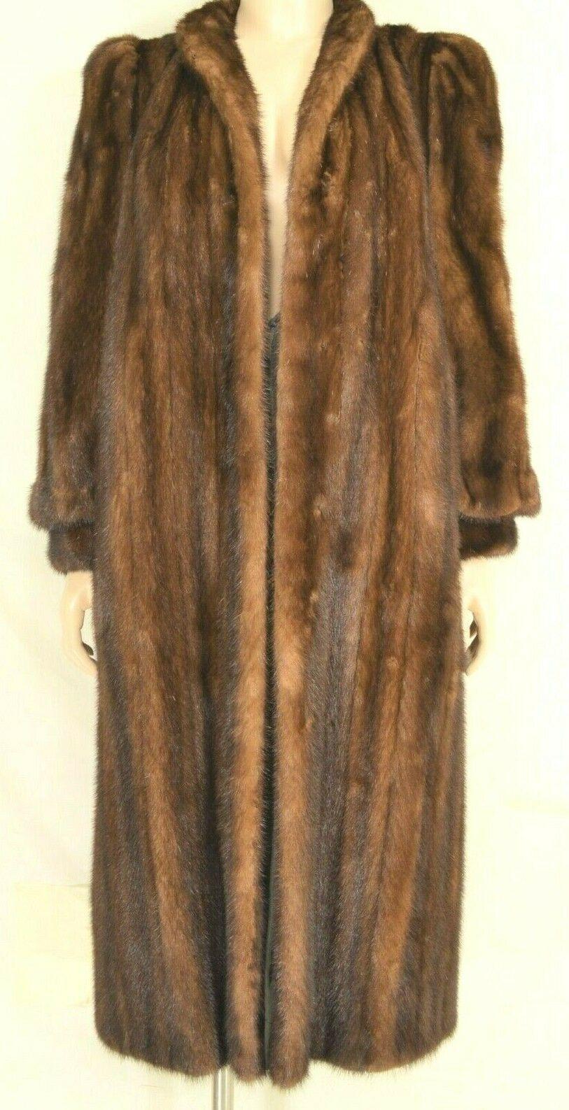 France Olivia mink fur coat FR 44 full length mahogany chic sophisticate brown
