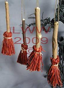 4 Samhain Brown bristled Broom/ Besom ornaments Bonanza
