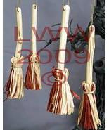 Samhain Halloween 4 Brown & tan Broom/ Besom ornaments - $8.99