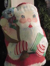 "SANTA CLAUS CHRISTMAS PILLOW VINTAGE 19"" x 10"" SCREEN PRINT COTTON HAND ... - $14.24"