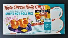 1940s antique DUFF'S HOT ROLL MIX store SIGN cardboard 9x18 prim kitchen... - $47.50