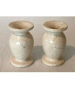 """Stone Candlestick Holders Pair Set of 2 Natural Beige Color 4"""" Table Dec... - $29.99"""