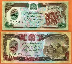 AFGHANISTAN 1991 Set UNC 500,1000 Afghanis Banknotes Paper Money Bills P... - $1.99