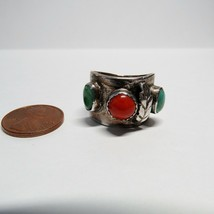 Turquoise Coral Feather Sterling Silver Southwestern Size 7.5 Cigar Band Ring - $36.61